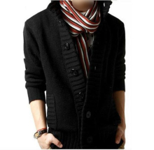 New Men's knit cardigan sweater thick sweater coat Korean Slim line casual jacket – Black XXL