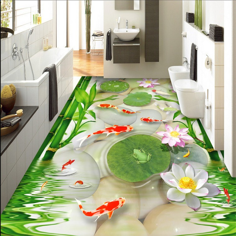beibehang High-definition beautiful goldfish pebbles bamboo lotus leaf frog 3d flooring papel de parede indoor wallpaper tapety nuciferine lotus leaf extract lotus leaf p e with high quality