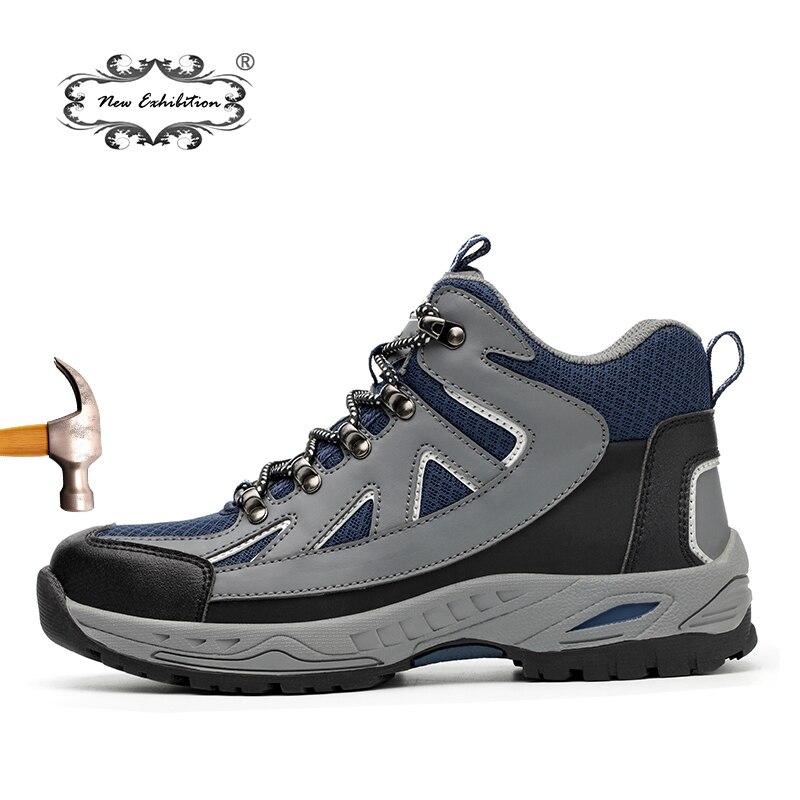 Nouvelle exposition chaussures de sécurité haut de gamme chaussures pour hommes mode grande taille anti-fracassant acier orteil anti-piercing hommes bottes de travail 35-48
