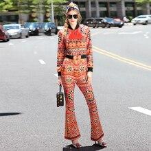 Fashion Twinset 2016 Autumn New Orange Long Sleeve Novelty Short Jackets + Speaker Pants Designer Sets