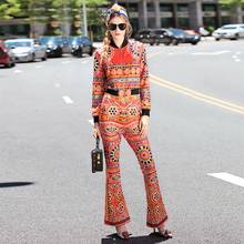 Novelty Twinset 2016 Autumn Fashion New Brand Long Sleeve Slim Print Short Jackets + Speaker Pants High Street Elegant Sets