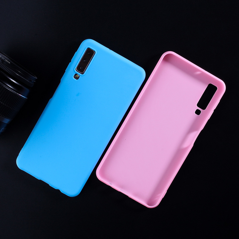Candy Color Case For Samsung Galaxy A8 2018 Case TPU Silicone Covers For Samsung A3 A5 A7 2017 A6 A8 Plus A7 2018 A50 Fundas in Fitted Cases from Cellphones Telecommunications