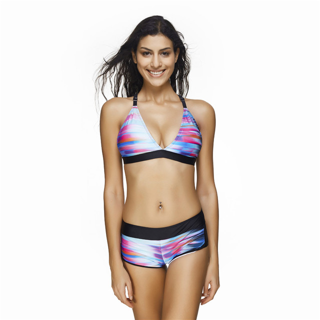 aa37341817 LS684 Maios 2017 Women Double Push Up Bikini Balconette Indoor Swimsuit  Large size swimwear Seafolly Colaless