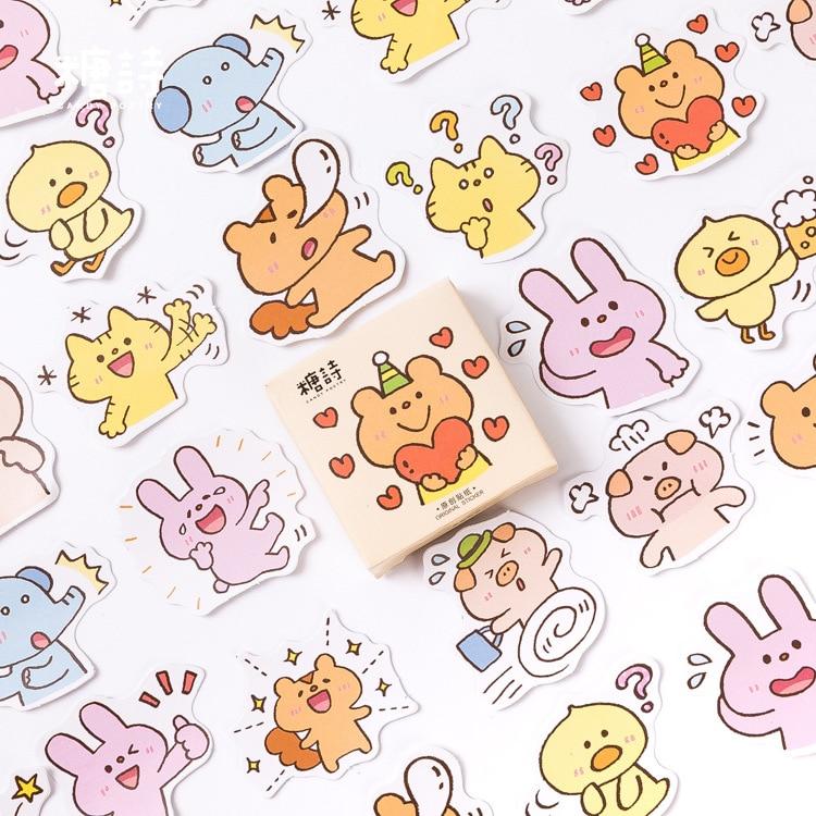 45pcs lot font b Pets b font collection Mini Decorative Kawaii Cute box Stickers set Scrapbooking