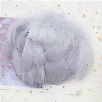 Натуральные гусиные перья 4-8 см, маленькие плавающие цветные перья лебедя, Плюм для рукоделия, свадебные украшения, украшения для дома, 100 шт - Цвет: gray 100pcs