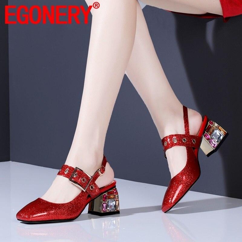 7479938e Red Verano Y Tacones De Nueva Cuadrada Hebilla Egonery Mujer 2019 Rojo  Plata Altos silver Moda Punta Bombas Fiesta Fuera Sexy Zapatos D2I9YeWHE