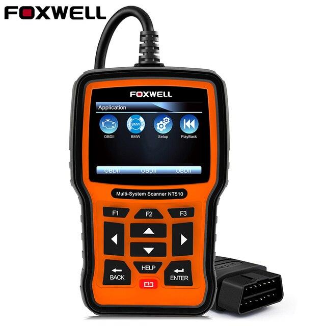 FOXWELL NT510 completa del sistema OBD2 coche herramienta de diagnóstico automotriz escáner ABS Airbag accidente fecha aceite restablecer DPF BMS ODB2 OBD 2 escáner
