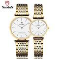 Nuodun marca casal relógios de quartzo casuais relógio de ouro dos homens das mulheres amantes de relógios de pulso de luxo relogio masculino de aço inoxidável simples