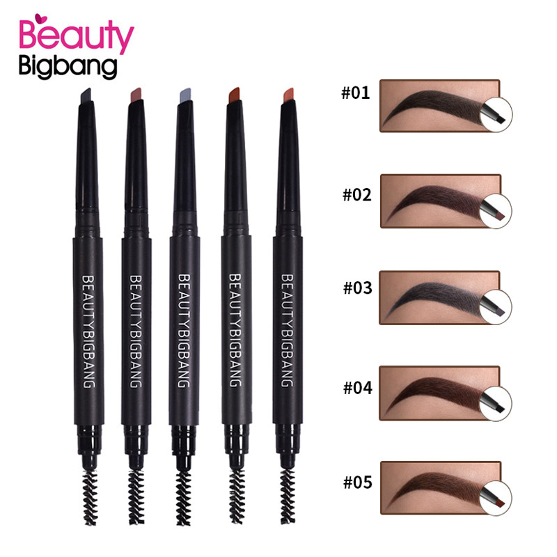 BeautyBigBang 5 Color Double Ended <font><b>Eyebrow</b></font> Pencil Waterproof Long Lasting Natural Rotatable Triangle Eye Brow <font><b>Tatoo</b></font> <font><b>Pen</b></font> Makeup image