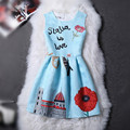 2017 Весна Лето Европейский Vintage Dress Письмо Печати Лолита Dress Evening Party Dress Floral Dress Vestido Де Boho Стиль
