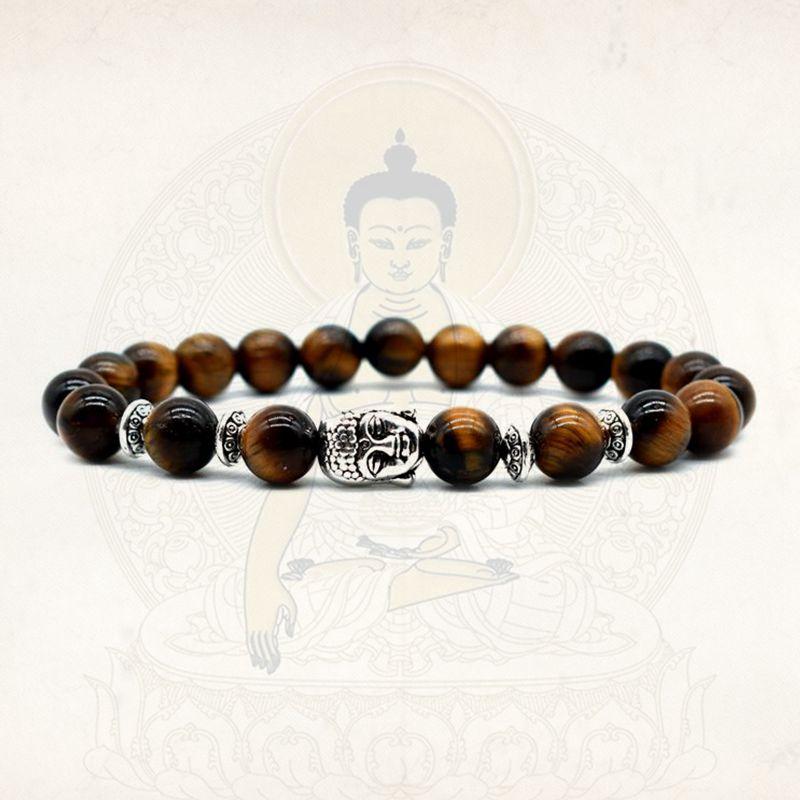 ✔  8 мм женщины браслет тигровый глаз бусины с лотосом bileklik Будда шарм йога браслет 21 украшения из ✔