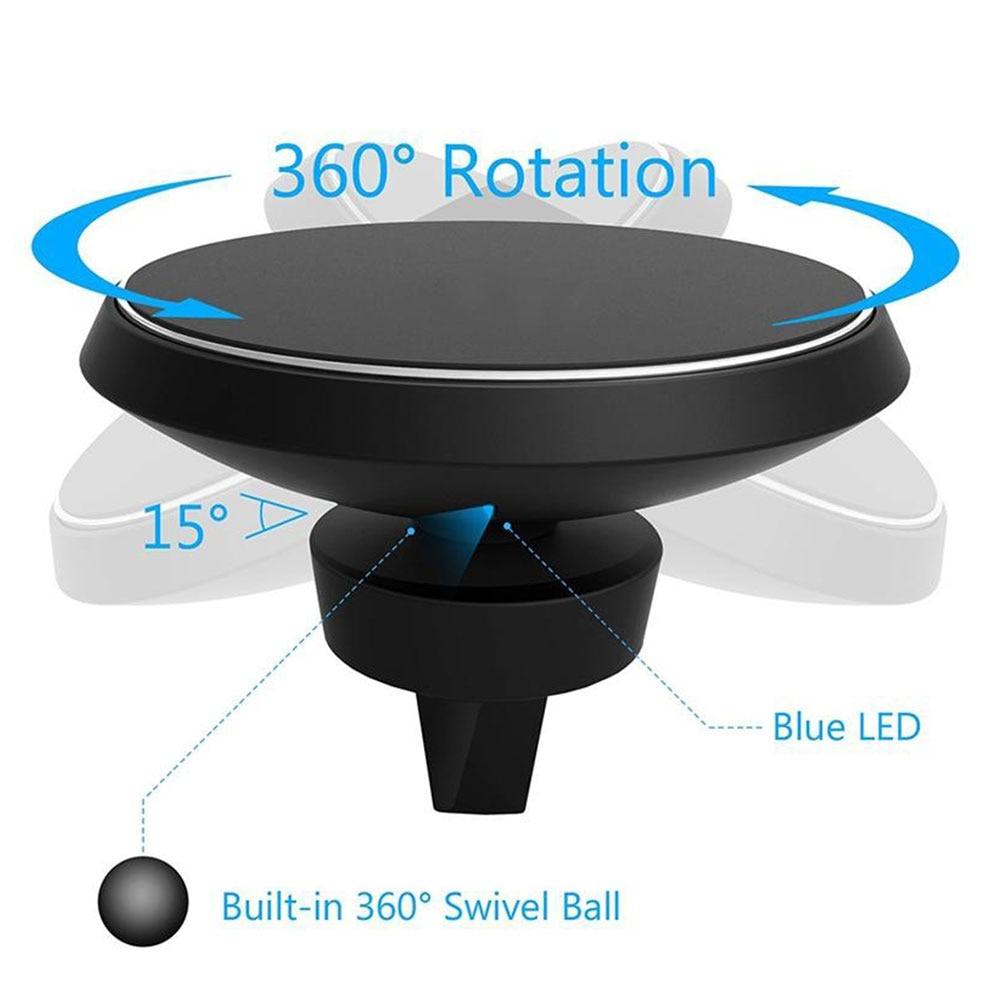 360 bil QI trådlös laddarehållare magnetisk luftventilationsdocka - Reservdelar och tillbehör för mobiltelefoner - Foto 3