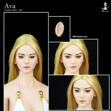 1/6 Scale Ep01 Daeris Ava Head Europe Girl Head with Removable Ears Curly Blond Long Hair for Pale PH Seamless body