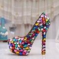 Новое поступление круглый носок игристое производительность обувь ну вечеринку выпускного вечера туфли на каблуках свадебные свадебные туфли уникальный невесты обувь туфли на высоком каблуке