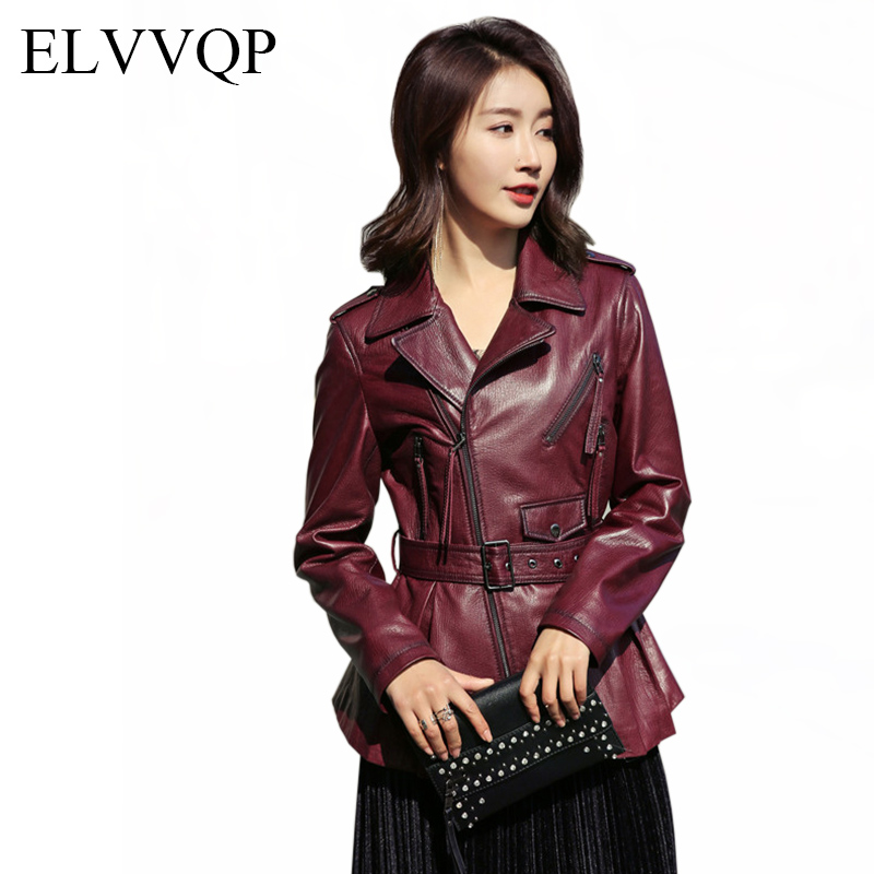 Women's Leather Jacket Spring and Autumn Long Sleeve Motorcycle Leather Jacket Woman Red and black coat plus size M 3XL LF222