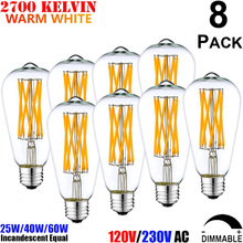 Antique Edison Style Medium Base E26 E27 Teardrop Light Bulb 25W 40W 60W Incandescent Equal ST64 LED Long Filament Bulb 4W 6W 8W