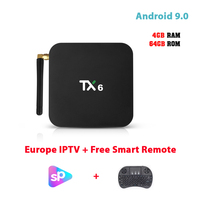 4G IPTV Box Android 9.0 Allwinner H6 64G Rom Internet Set Top Box Support 12 Months Arabic/Europe/Turkish etc Subscription