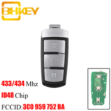 BHKEY 3 przyciski inteligentny pilot z kluczykiem samochodowym dla volkswagena 3C0 959 752 BA 434Mhz ID48 Chip dla VW Passat B6 3C B7 Magotan CC kluczyk