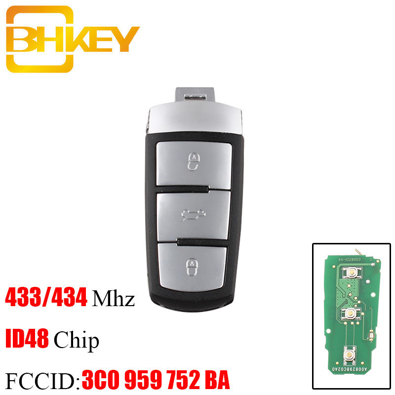 BHKEY 3Buttons Smart Remote Car Key Fob For Volkswagen 3C0 959 752 BA 434Mhz ID48 Chip For VW Passat B6 3C B7 Magotan CC Car Key