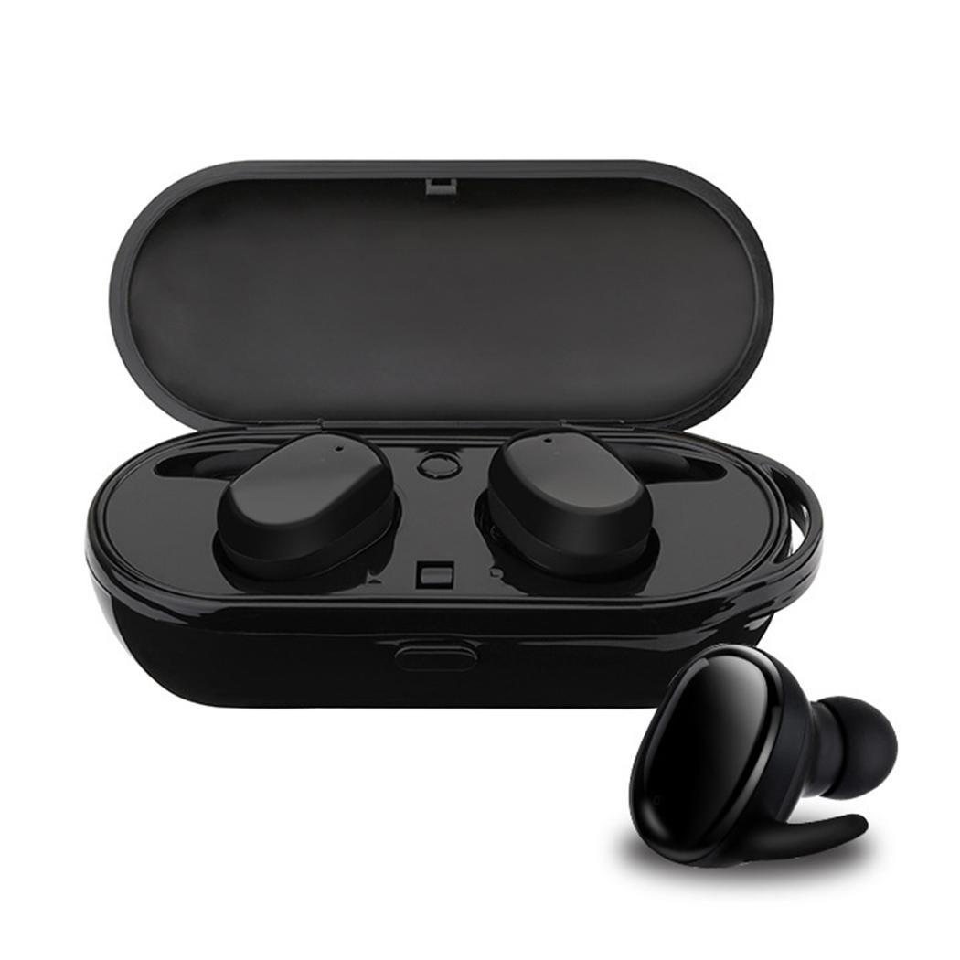 Mini TWS Portable Wireless Earphone Bluetooth Hifi Stereo In-Ear Mini Wireless Earphone Waterproof with Charging Box Black(China)