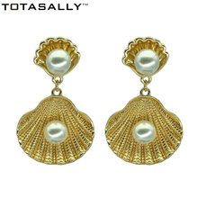 TOTASALLY Ocean style Simulated Pearl Oyster dangle Earrings for Women Fashion Seashell Marine Jewelry pendientes mujer