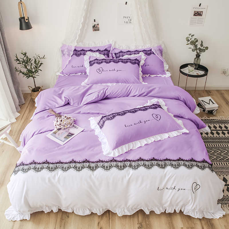 Reactive Printing 4 Pcs Bedding Set Duvet Cover Pillowcase Bed Skirt Bed Linen Sweat Heart Luxury Love Warm 1.5m 1.8m 2.0m Bed