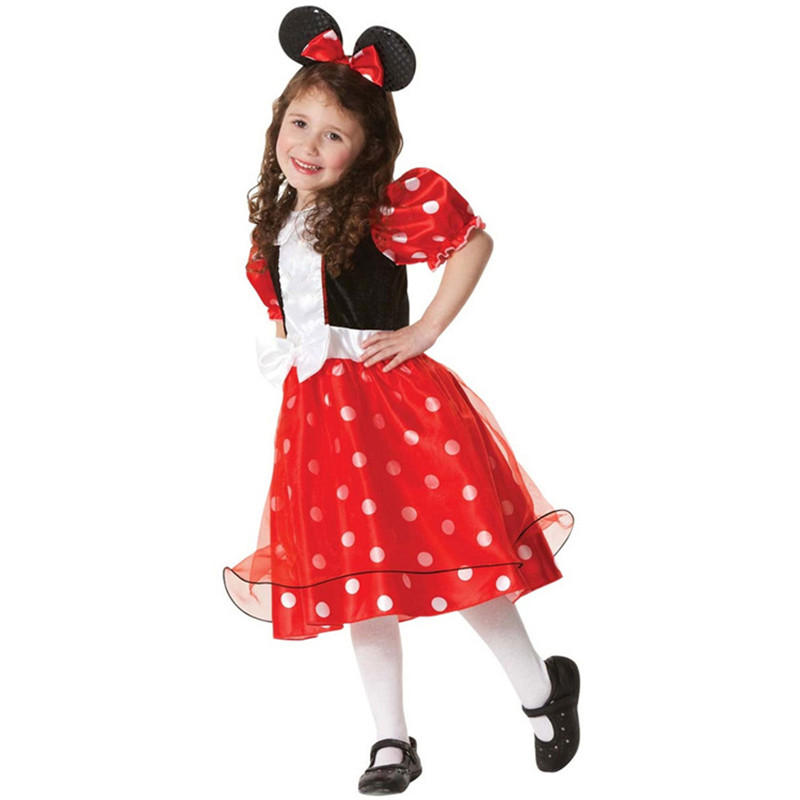 Fashion Girls Polka Dot Dresses Print Cosplay Halloween Dress Rabbit Ears Costume Clothes Party Tutu Dresses with Headwear юбка stets