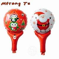 50 adet/grup Baba el Folyo Balonlar globos merry christmas Süslemeleri çocuk oyuncak ballons el çubuk balon toptan
