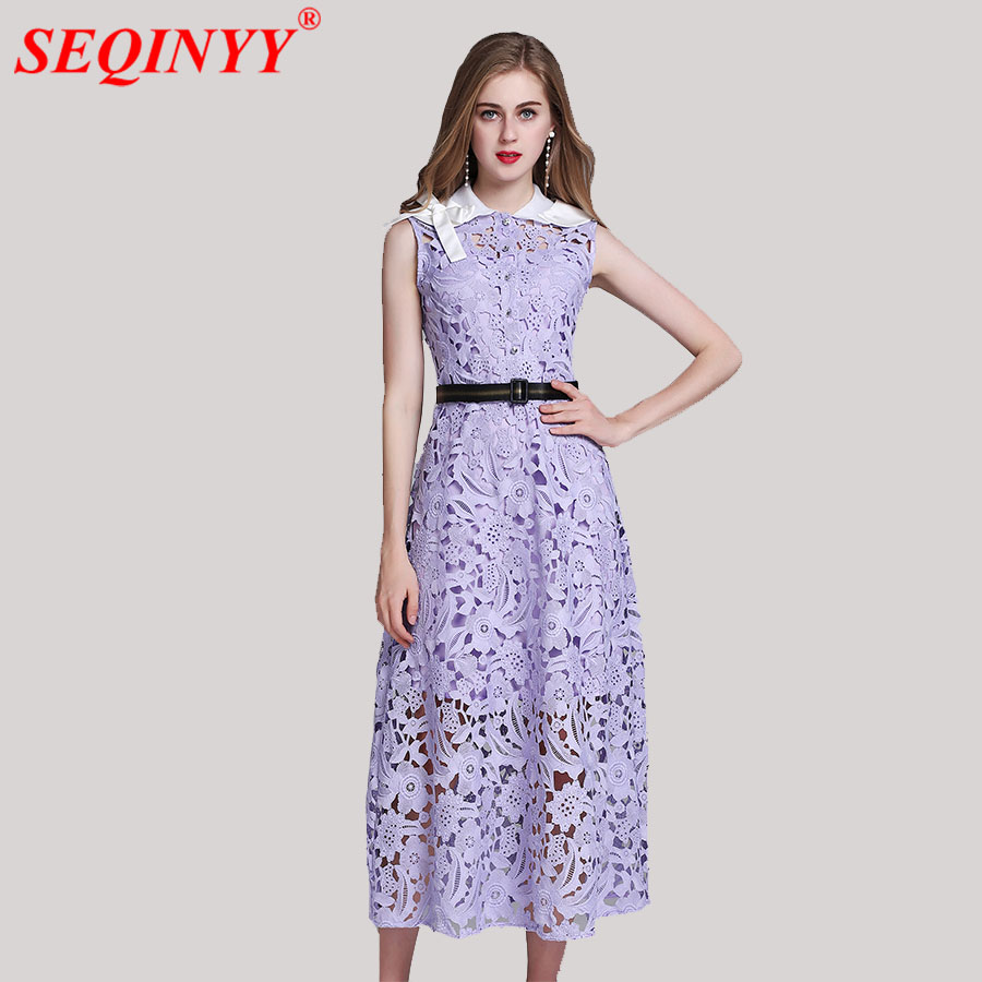 Здесь продается  Elegant Fashion Self-Portrait Women Dress 2018 Summer White Purple Sleeveless Sexy Hollow Out Sashes Removeable Collar Mid Dress  Одежда и аксессуары