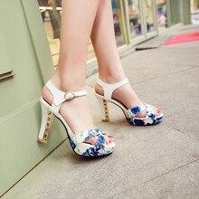 Fashion platform high heel sandals women summer shoes women sandal sandalias PU Printing ladies sandals 2015 summer new shoes