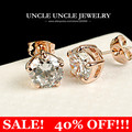 Classic Unisex!! Rose Gold Plated 5 Prongs Hearts & Arrows Top Quality 2ct Cubic Zirconia Stud Earrings Wholesale