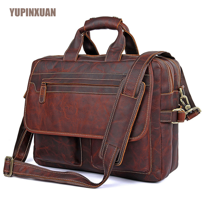 YUPINXUAN High Quality Cow Leather Handbags for Men 15.6