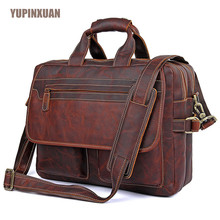 YUPINXUAN High Quality Cow Leather Handbags for Men 15.6″ Laptop Briefcase Brown Color Large Capacity Travel Bags Messenger Bag
