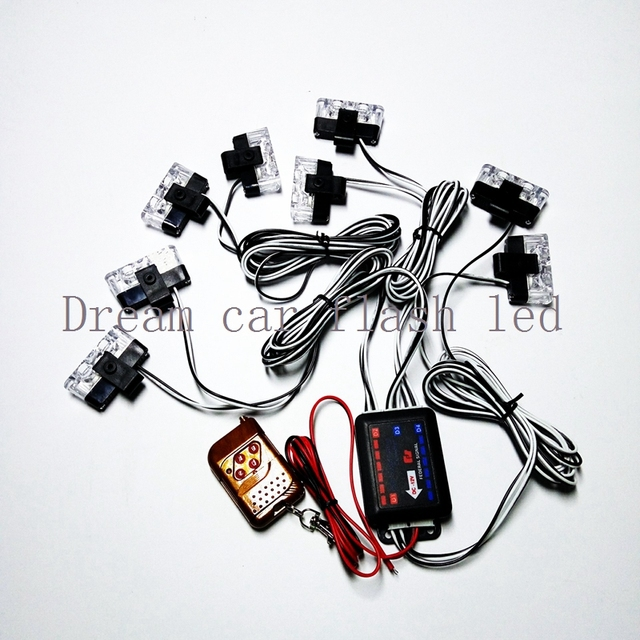 New The Wireless Remote Control 8x2led 12v Car Warning Light 16w Flash Strobe Lights For
