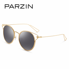 PARZIN New 2017 Metal Frame Women Round Sun Glasses Vintage Steampunk Coating Mirror Sunglasses Ladies Polairzed Spectacles 8115