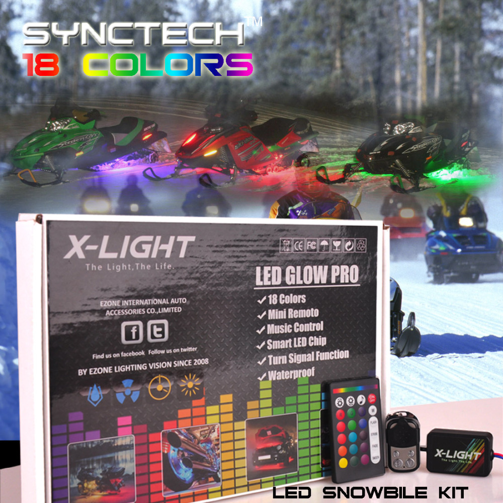 X-LIGHT Wireless Remote 18 Color Changing Led Snowmobile Neon Glow Lighting Kit 10pc  Msuic Active  Brake Mode  Switch Cable