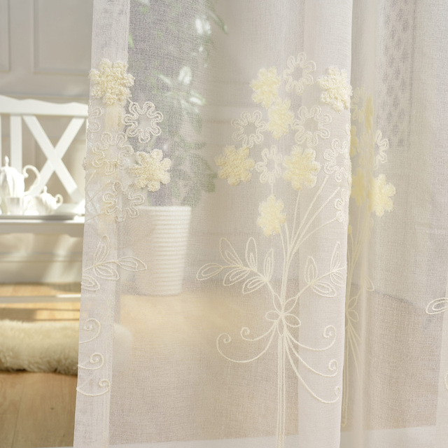 Embroidery Tulle Curtains For Living Room White Sheer Fabric Drapes Country Transparent Organza Drapery Rustic Chiffon