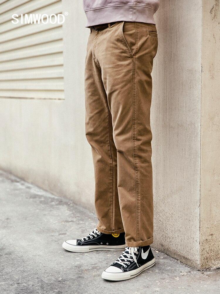 SIMWOOD 2019 Calça Casual Homens Calças Compridas Moda Reta Slim Calças Masculinas da Primavera de Alta Qualidade Roupas de Marca 4 Cores 180613