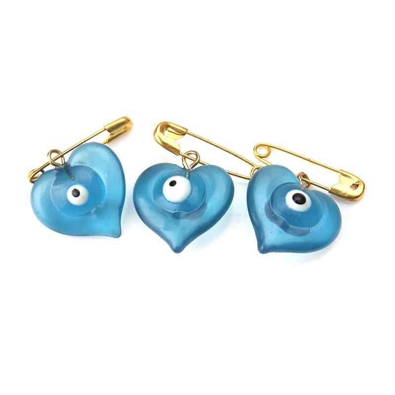 5pcs/lot 18*22mm Blue Evil Eye Heart Brooch & Pin For