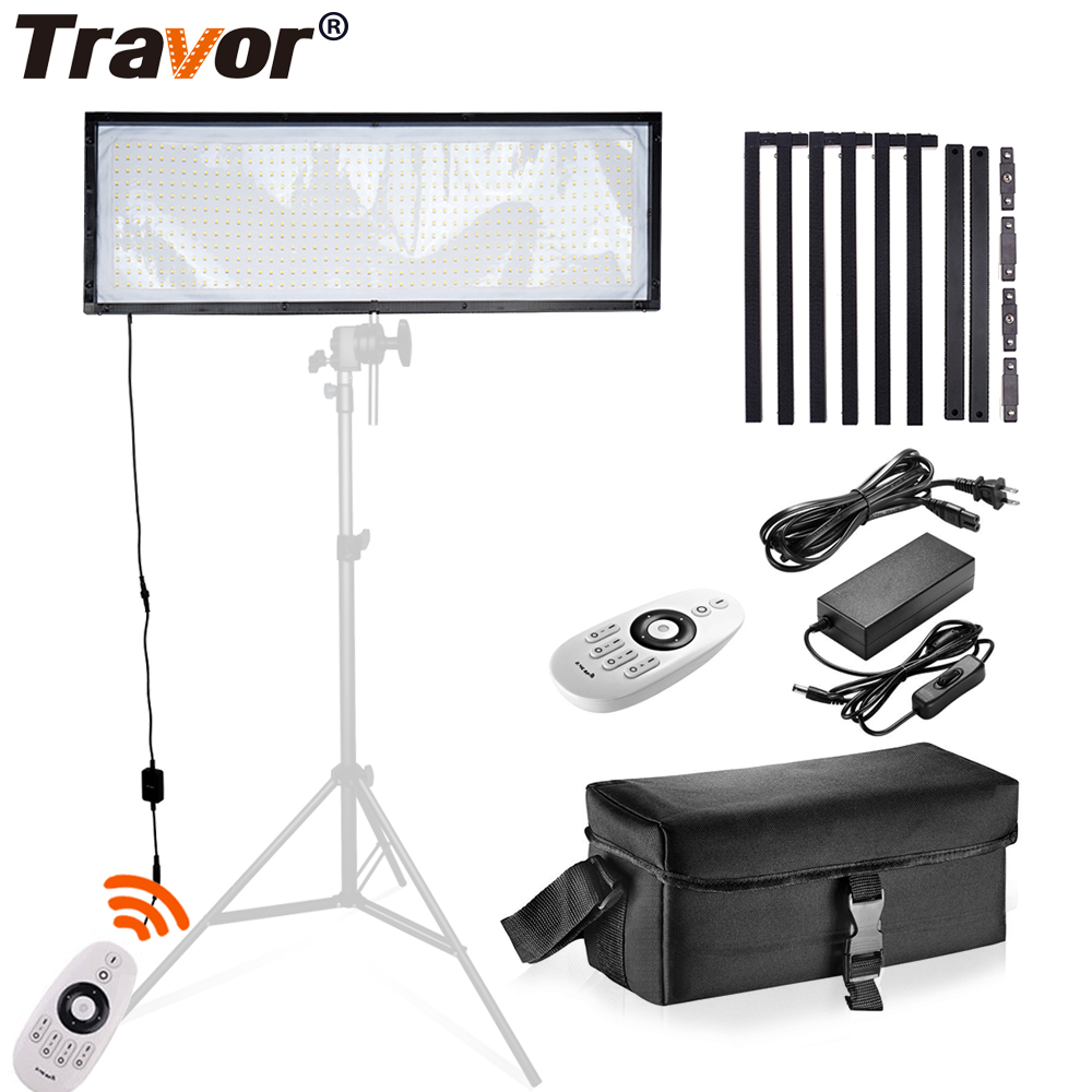 цена Travor FL-3090 LED Video Light Flexible Panel Light Dimmable Daylight 576PCS Studio Photography Light With 2.4G Remote Control
