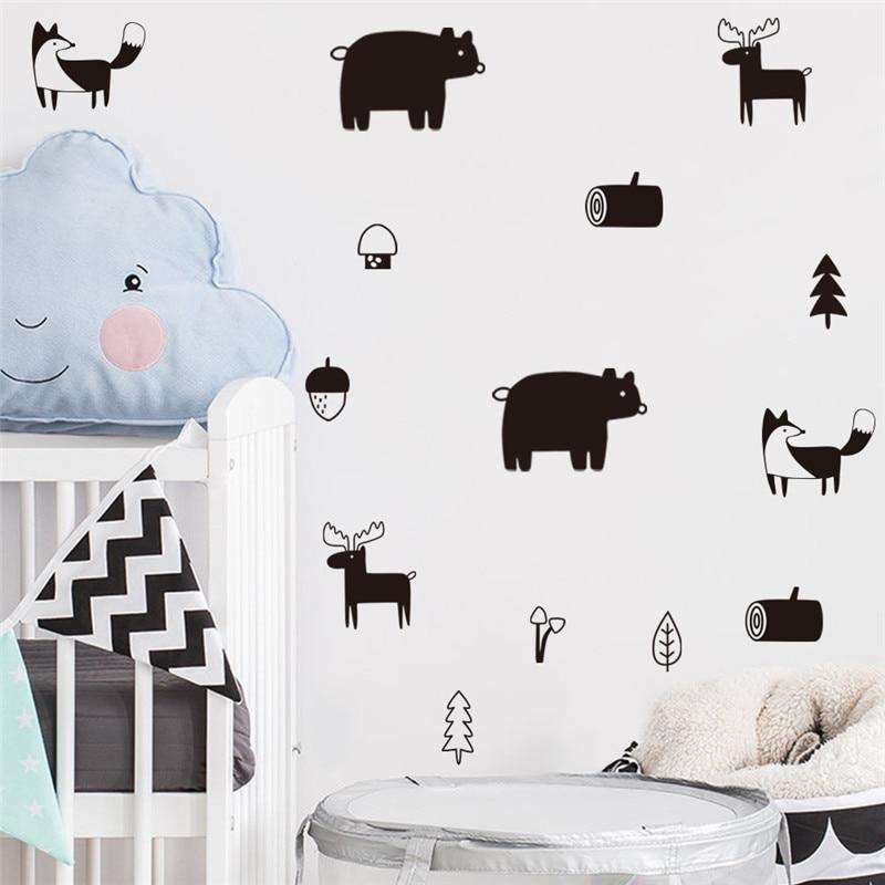 6pcs Nordic Fox Elk Wall Sticker Decals Nursery Art Decor Kids Room Self-adhesive Mural Wallpaper Waterproof Home