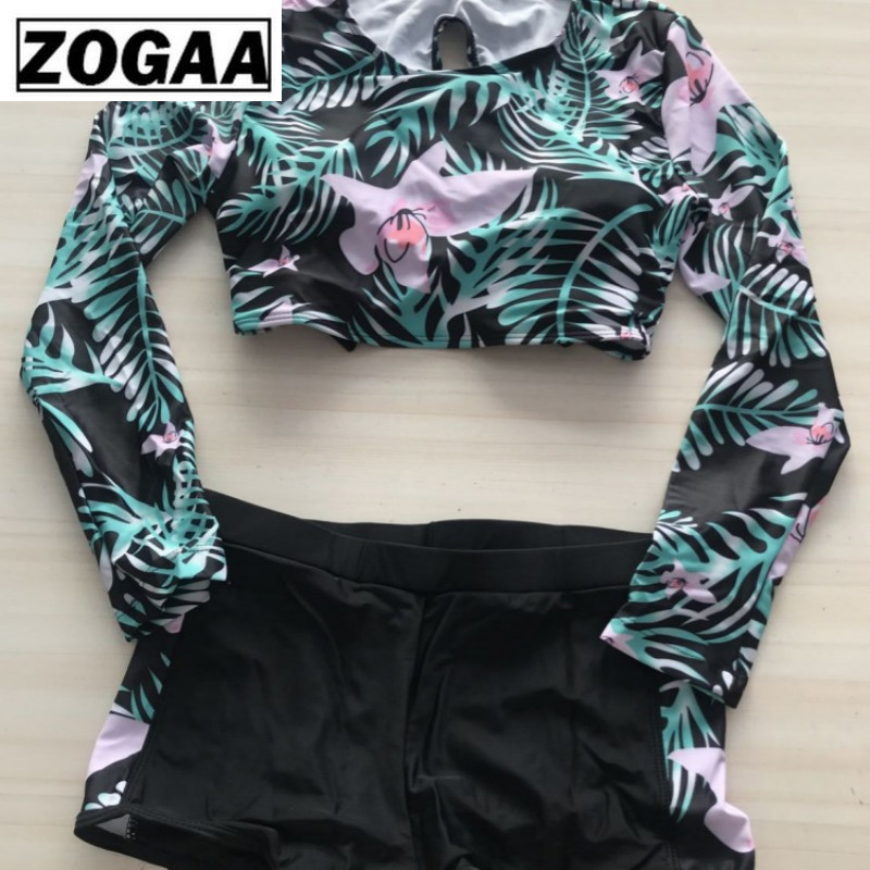 ZOGGA 2019 Mint Floral Print Backless Elastic Waist Female Summer Set High-quality Polyester/nylon Women Two Piece Outfits