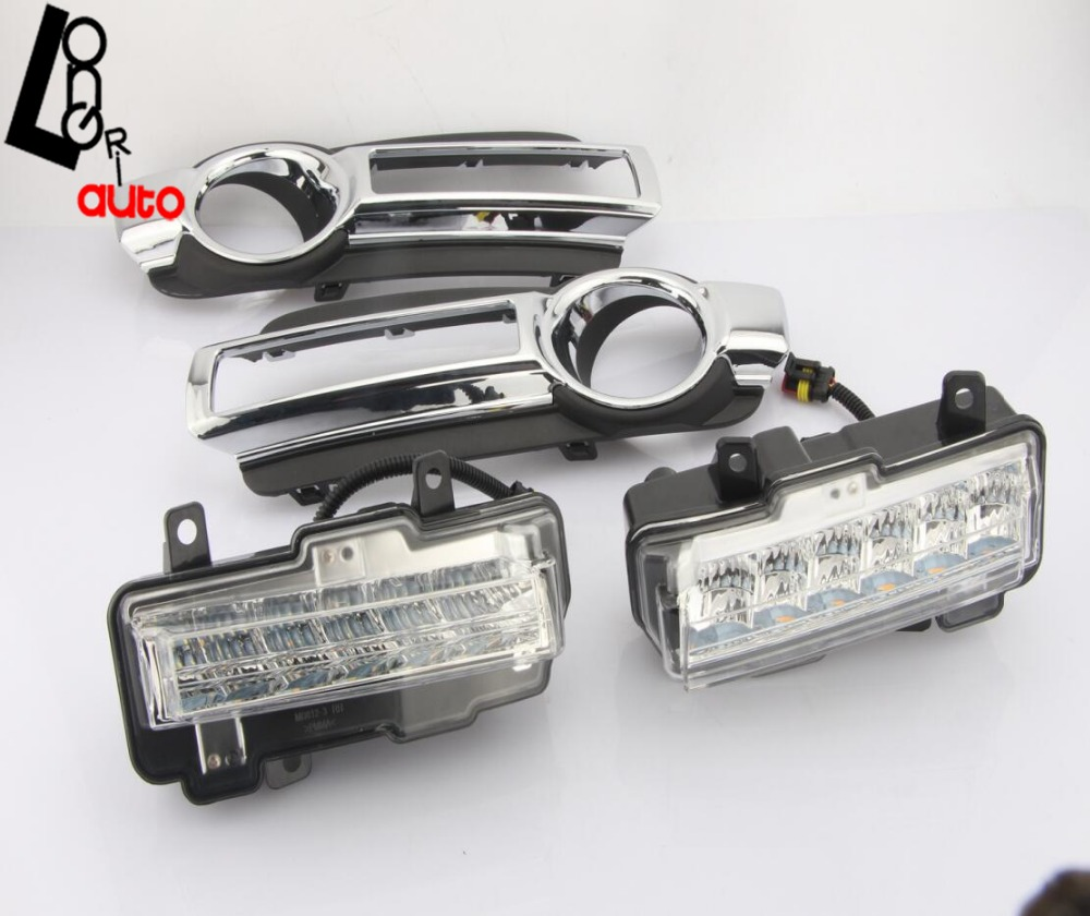 Daytime Running Lights DRL LED Car Styling New 12V Left &Right With Yellow Turn Singal Day Light For 2015-2016 Mitsubishi Pajero free shipping vland factory for mitsubishis 2013 2014 2015 pajero sport drl led daytime running light with turn lights