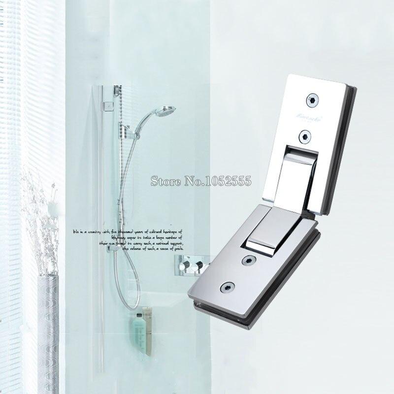 2pcs stainless steel 135 degree mirror glass door hinges glass holder brackets shower bathroom glass to