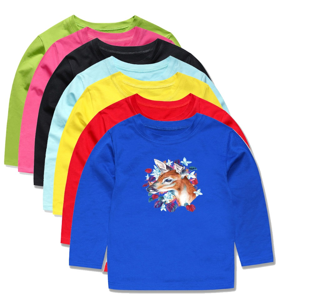 c450869f Aliexpress.com : Buy 100% Cotton Spring Autumn Boys Full Sleeve Christmas T  Shirt Girls Tops for 1 14Years Children Floral Tops Kids Clothes from ...