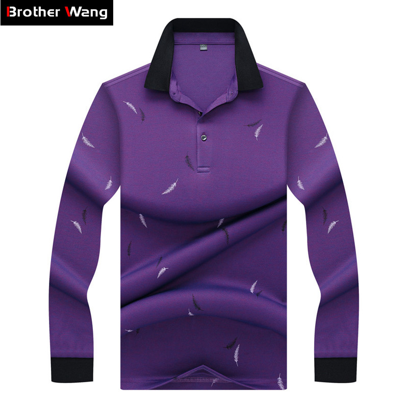 New Brand Clothes 2019 Men's Long Sleeve   Polo   Shirt Business Fashion Casual Contrast Collar Thickened   Polo   Shirt Male Clothing