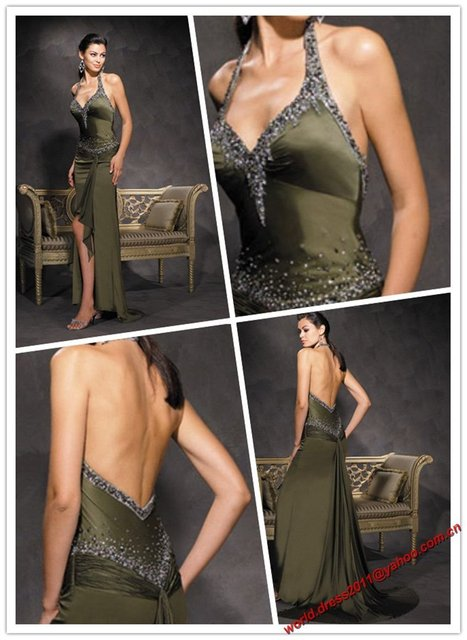 Free Shipping Whoelsale New Style Halter Sexy Appliqued Prom Dress/Evening Gown/Elegant Evening Dress