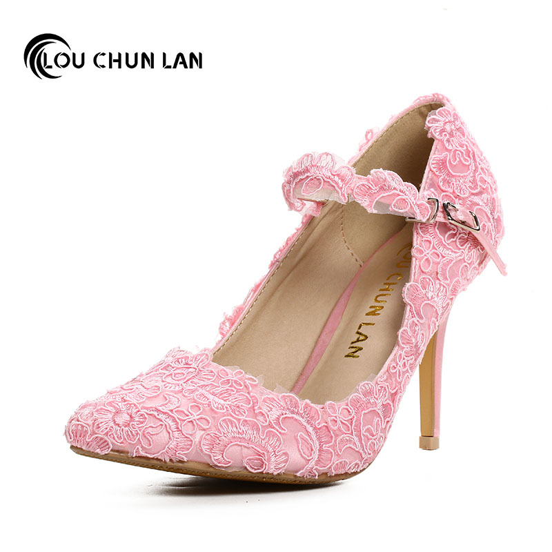 Sweet Pink Lace Flower Bridal Shoes Ultra High Heels Thin