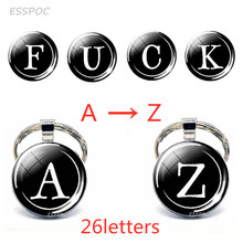26 Letters Glass Cabochon Keychains Letter Bag Car Dome  Silver Round Key Chain Ring Accessories Personalized Birthday Gift letter print detail round chain bag
