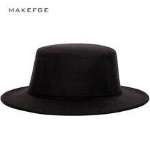Pria Klasik Fedora Musim Gugur dan Musim Dingin Warna Solid Fashion Datar  Topi Pria dan Wanita Universal Topi bowler Yahudi Vint. 6d4cf652f4